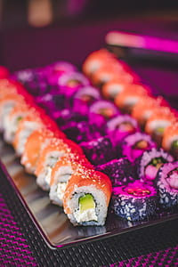 Maki Sushi on Glass Plate