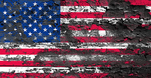withered flag of America on wood wallpaper