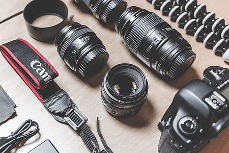 Professional Photographer DSLR Camera & Lens Equipment