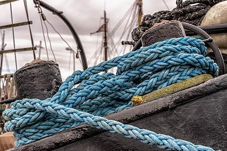 blue rope on concrete stumps