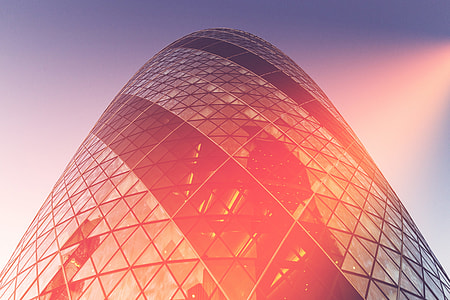 Hyper-processed shot of the Gherkin skyscraper in the City of London