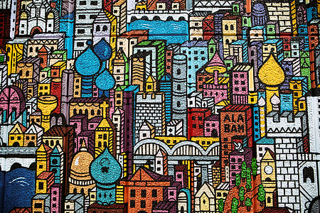 Street art depicting city buildings