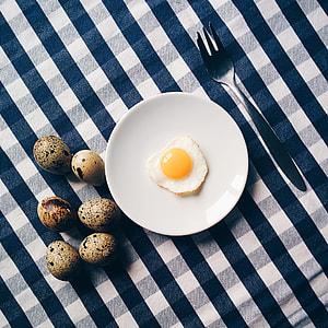 Funny quail egg breakfast