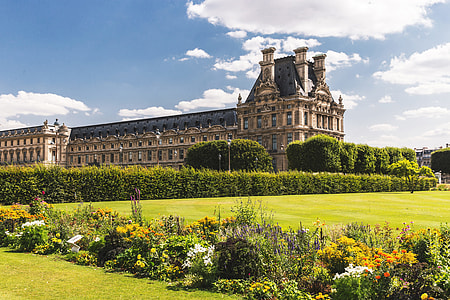 Wide angle shot of the famous Louvre Museum in Paris, France. Image captured with a Canon 6D