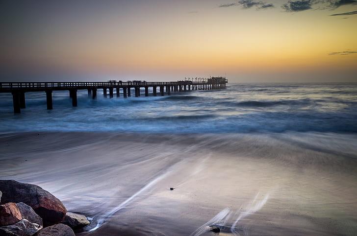 dusk, sea, beach, sunset, pier, wafe