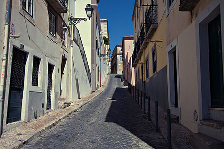 Wide-angle shot of a quiet side street in Lisbon, Portugal. Image captured with a Canon DSLR