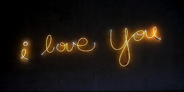 i love you LED light sign
