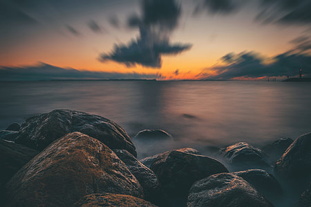 Long exposure shot captured on the coast