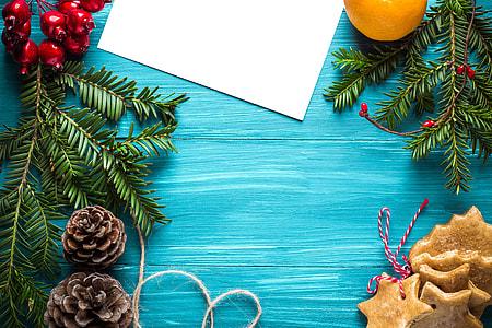 Overhead shot of a Christmas-themed table