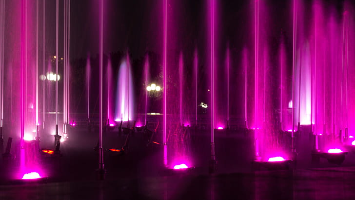 purple fountain lights