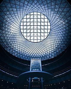 blue glass stadium