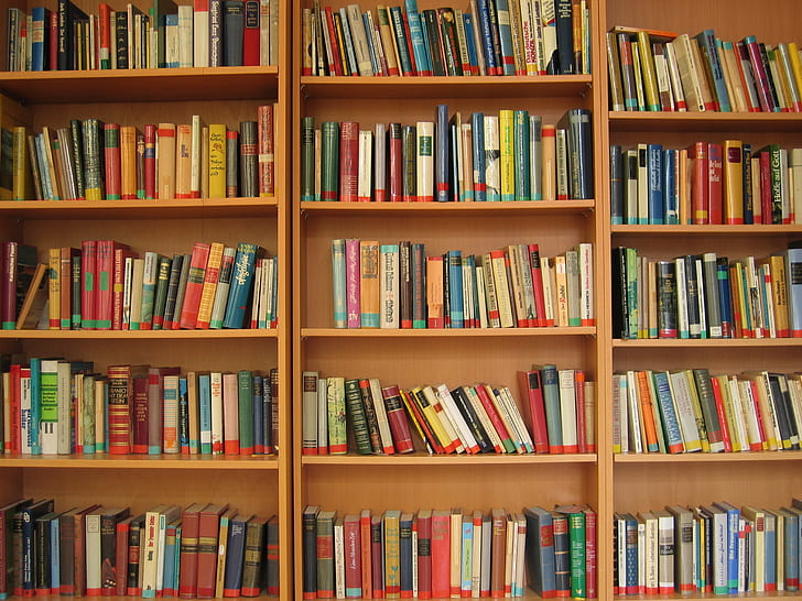 assorted learning books on brown wooden bookcase