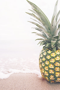 photo of pineapple on top of beach sand and water
