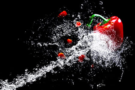 red chili splash with water