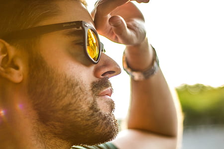Men's Black Framed Sunglasses Shined by the Bright Sun