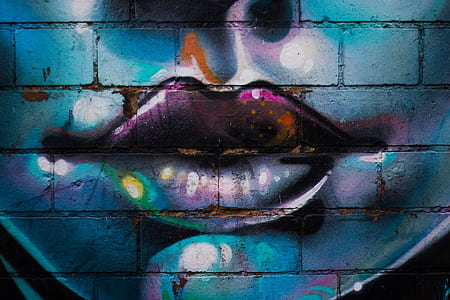 lips, graffiti, wall, face, paint, blue