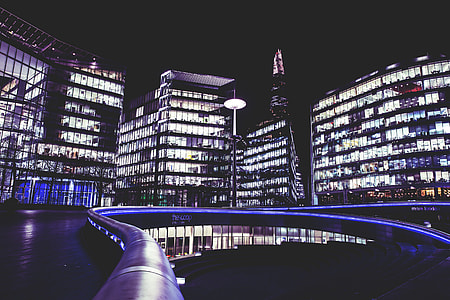 City shot by night of The Scoop at the More London development on the Southbank