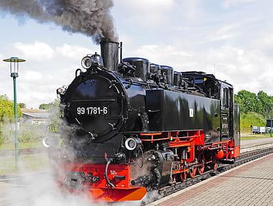 black and orange train on railway