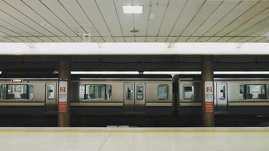 gray train on  train station