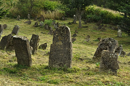 gray tombstones on green grass