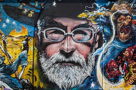 Street art mural depicting the late Terry Pratchett, English author