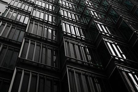 Windows on modern building exterior