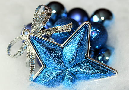 blue and silver-colored accessory