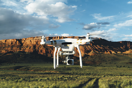 white DJI phantom drone