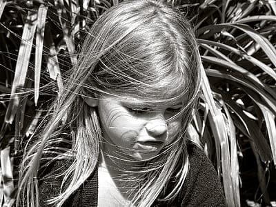 grayscale photo of girl