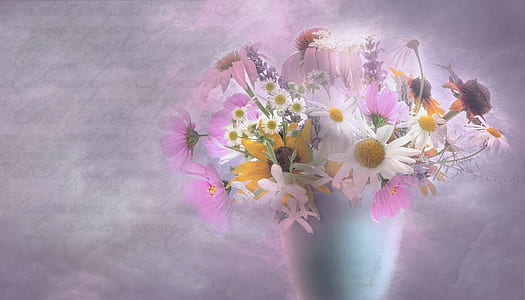 white and purple flower bouquet in white vase
