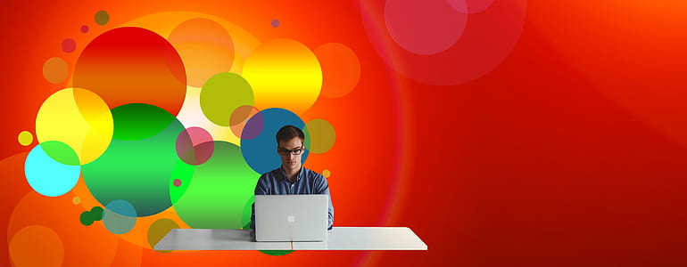 person in front of laptop illustration