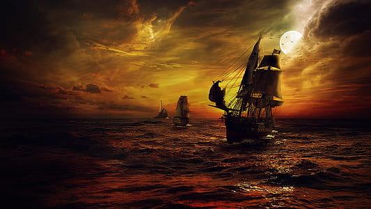 brown galleon ship illustration