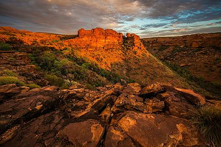 landscape photography of canyon