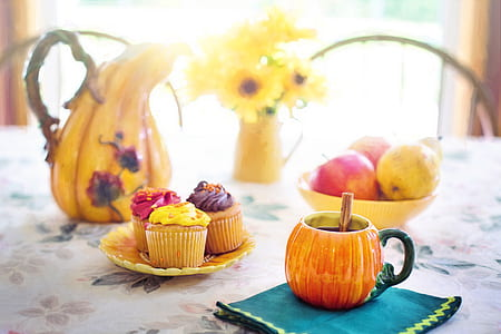 cupcake and fruits in the table