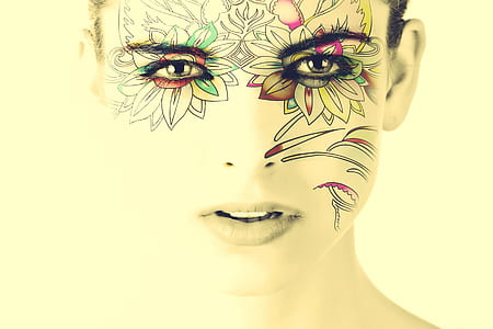 woman with floral face paint