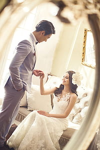 woman and man in wedding attire