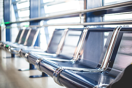 Empty Airport Seats in Terminal Waiting Area