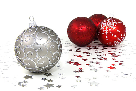 three red and one grey baubles