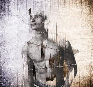 topless man illustration