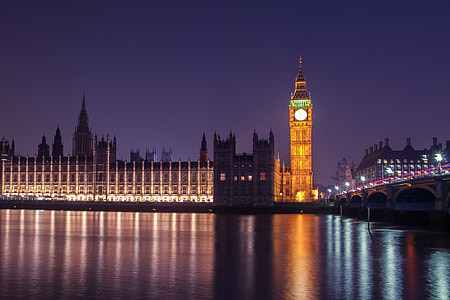 This is a long exposure photograph taken in Westminster, Central London