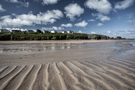 Sandy beach in Cornwall, England. This image was captured at Porthcothan Bay