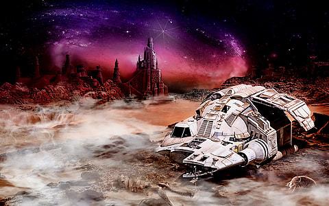 gray space craft under starry sky
