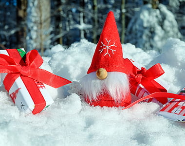 Santa Claus miniature covered with snpw