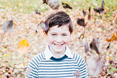Closeup shot of a smiling boy child