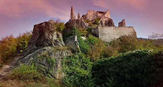 castle on top of mountain during daytime