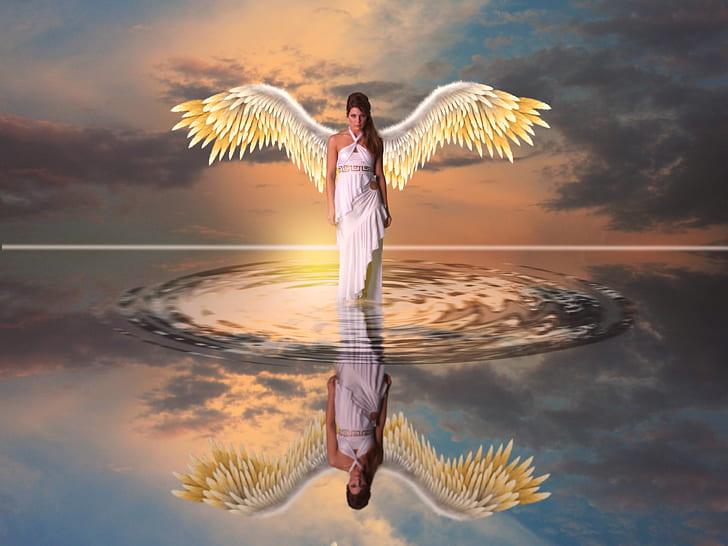 woman angel walking on water