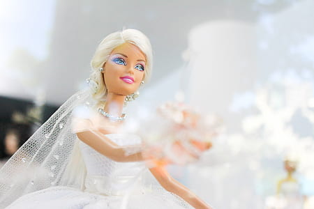Barbie Doll wearing white wedding dress