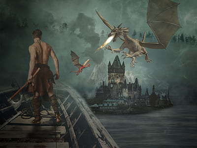 man standing on bridge near white fire-breathing dragons painting
