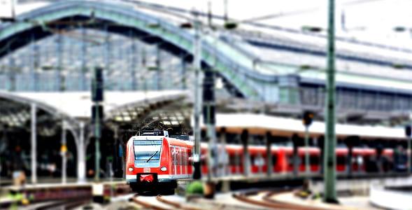 bokeh shot of red train