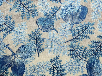 blue and white floral art